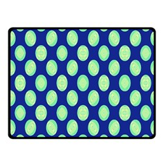 Mod Retro Green Circles On Blue Fleece Blanket (small) by BrightVibesDesign