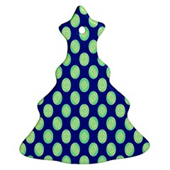 Mod Retro Green Circles On Blue Christmas Tree Ornament (2 Sides) by BrightVibesDesign