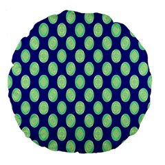 Mod Retro Green Circles On Blue Large 18  Premium Flano Round Cushions by BrightVibesDesign