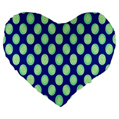 Mod Retro Green Circles On Blue Large 19  Premium Flano Heart Shape Cushions by BrightVibesDesign