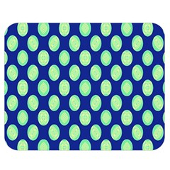 Mod Retro Green Circles On Blue Double Sided Flano Blanket (medium)  by BrightVibesDesign