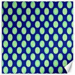 Mod Retro Green Circles On Blue Canvas 20  X 20   by BrightVibesDesign