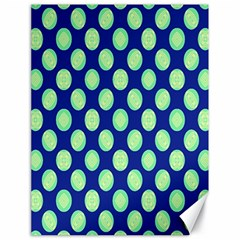 Mod Retro Green Circles On Blue Canvas 18  X 24   by BrightVibesDesign