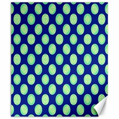 Mod Retro Green Circles On Blue Canvas 20  X 24   by BrightVibesDesign
