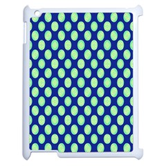 Mod Retro Green Circles On Blue Apple Ipad 2 Case (white) by BrightVibesDesign