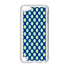 Mod Retro Green Circles On Blue Apple Ipod Touch 5 Case (white) by BrightVibesDesign