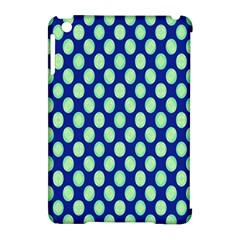 Mod Retro Green Circles On Blue Apple Ipad Mini Hardshell Case (compatible With Smart Cover) by BrightVibesDesign