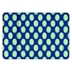 Mod Retro Green Circles On Blue Samsung Galaxy Tab 8 9  P7300 Flip Case by BrightVibesDesign