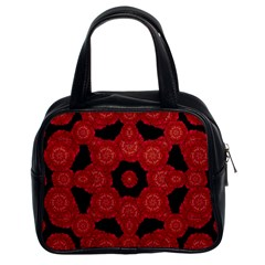 Stylized Floral Check Classic Handbags (2 Sides) by dflcprints