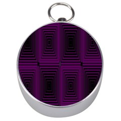 Purple Black Rectangles         Silver Compass by LalyLauraFLM