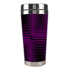 Purple Black Rectangles         Stainless Steel Travel Tumbler by LalyLauraFLM