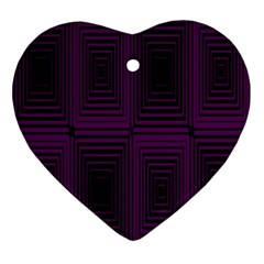 Purple Black Rectangles         			ornament (heart) by LalyLauraFLM
