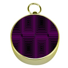 Purple Black Rectangles         			gold Compass by LalyLauraFLM