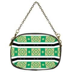 Green Rhombus And Stripes           	chain Purse (two Sides) by LalyLauraFLM