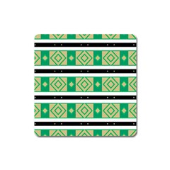 Green Rhombus And Stripes           			magnet (square) by LalyLauraFLM