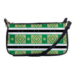 Green Rhombus And Stripes           			shoulder Clutch Bag by LalyLauraFLM