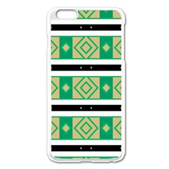 Green Rhombus And Stripes           			apple Iphone 6 Plus/6s Plus Enamel White Case by LalyLauraFLM