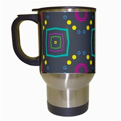 Squares And Circles Pattern Travel Mug (white) by LalyLauraFLM
