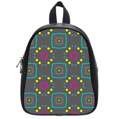 Squares And Circles Pattern 			school Bag (small) by LalyLauraFLM