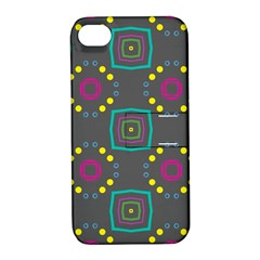 Squares And Circles Pattern 			apple Iphone 4/4s Hardshell Case With Stand