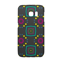 Squares And Circles Pattern 			samsung Galaxy S6 Edge Hardshell Case by LalyLauraFLM