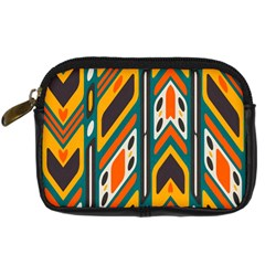 Distorted Shapes In Retro Colors   	digital Camera Leather Case by LalyLauraFLM