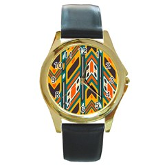 Distorted Shapes In Retro Colors   			round Gold Metal Watch by LalyLauraFLM