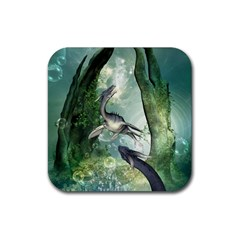 Awesome Seadraon In A Fantasy World With Bubbles Rubber Square Coaster (4 Pack)  by FantasyWorld7