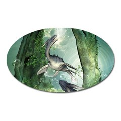 Awesome Seadraon In A Fantasy World With Bubbles Oval Magnet by FantasyWorld7