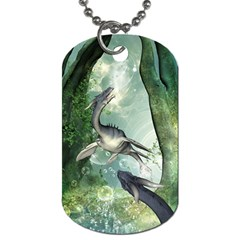 Awesome Seadraon In A Fantasy World With Bubbles Dog Tag (two Sides) by FantasyWorld7