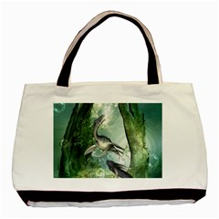 Awesome Seadraon In A Fantasy World With Bubbles Basic Tote Bag (two Sides) by FantasyWorld7