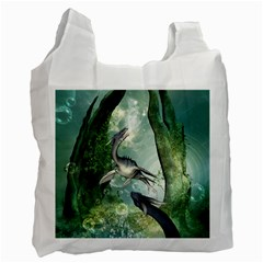 Awesome Seadraon In A Fantasy World With Bubbles Recycle Bag (one Side) by FantasyWorld7