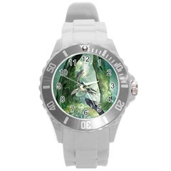 Awesome Seadraon In A Fantasy World With Bubbles Round Plastic Sport Watch (l) by FantasyWorld7