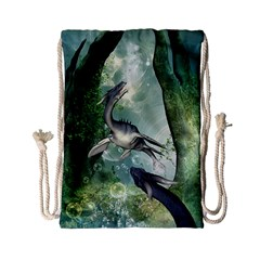 Awesome Seadraon In A Fantasy World With Bubbles Drawstring Bag (small) by FantasyWorld7