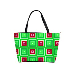 Green Red Squares Pattern    Classic Shoulder Handbag by LalyLauraFLM