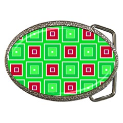 Green Red Squares Pattern    			belt Buckle by LalyLauraFLM