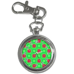Green Red Squares Pattern    			key Chain Watch by LalyLauraFLM