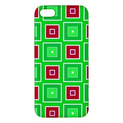 Green Red Squares Pattern    			iphone 5s Premium Hardshell Case by LalyLauraFLM
