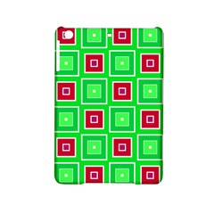 Green Red Squares Pattern    			apple Ipad Mini 2 Hardshell Case by LalyLauraFLM
