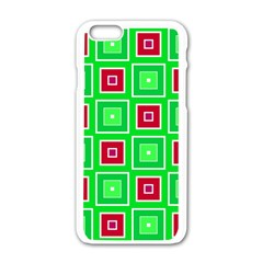 Green Red Squares Pattern    			apple Iphone 6/6s White Enamel Case by LalyLauraFLM