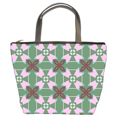 Pink Brown Flowers Pattern     	bucket Bag by LalyLauraFLM