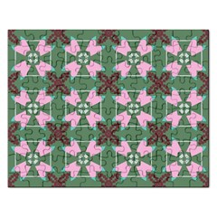 Pink Brown Flowers Pattern     			jigsaw Puzzle (rectangular) by LalyLauraFLM