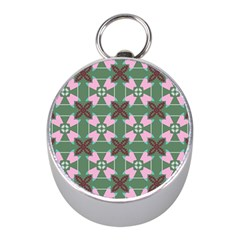 Pink Brown Flowers Pattern     			silver Compass (mini) by LalyLauraFLM
