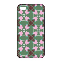 Pink Brown Flowers Pattern     			apple Iphone 4/4s Seamless Case (black) by LalyLauraFLM