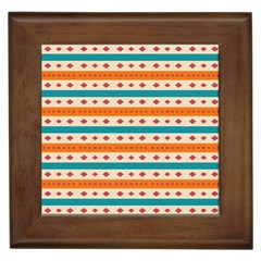 Rhombus And Stripes Pattern      			framed Tile by LalyLauraFLM
