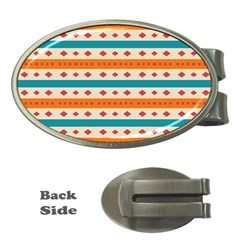 Rhombus And Stripes Pattern      			money Clip (oval) by LalyLauraFLM