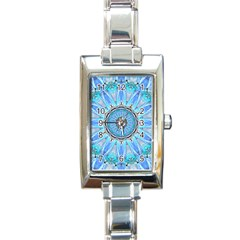 Sapphire Ice Flame, Light Bright Crystal Wheel Rectangle Italian Charm Watch by DianeClancy
