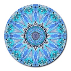Sapphire Ice Flame, Light Bright Crystal Wheel Round Mousepads by DianeClancy