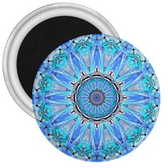 Sapphire Ice Flame, Light Bright Crystal Wheel 3  Magnets by DianeClancy