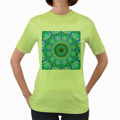 Sapphire Ice Flame, Light Bright Crystal Wheel Women s Green T Shirt by DianeClancy